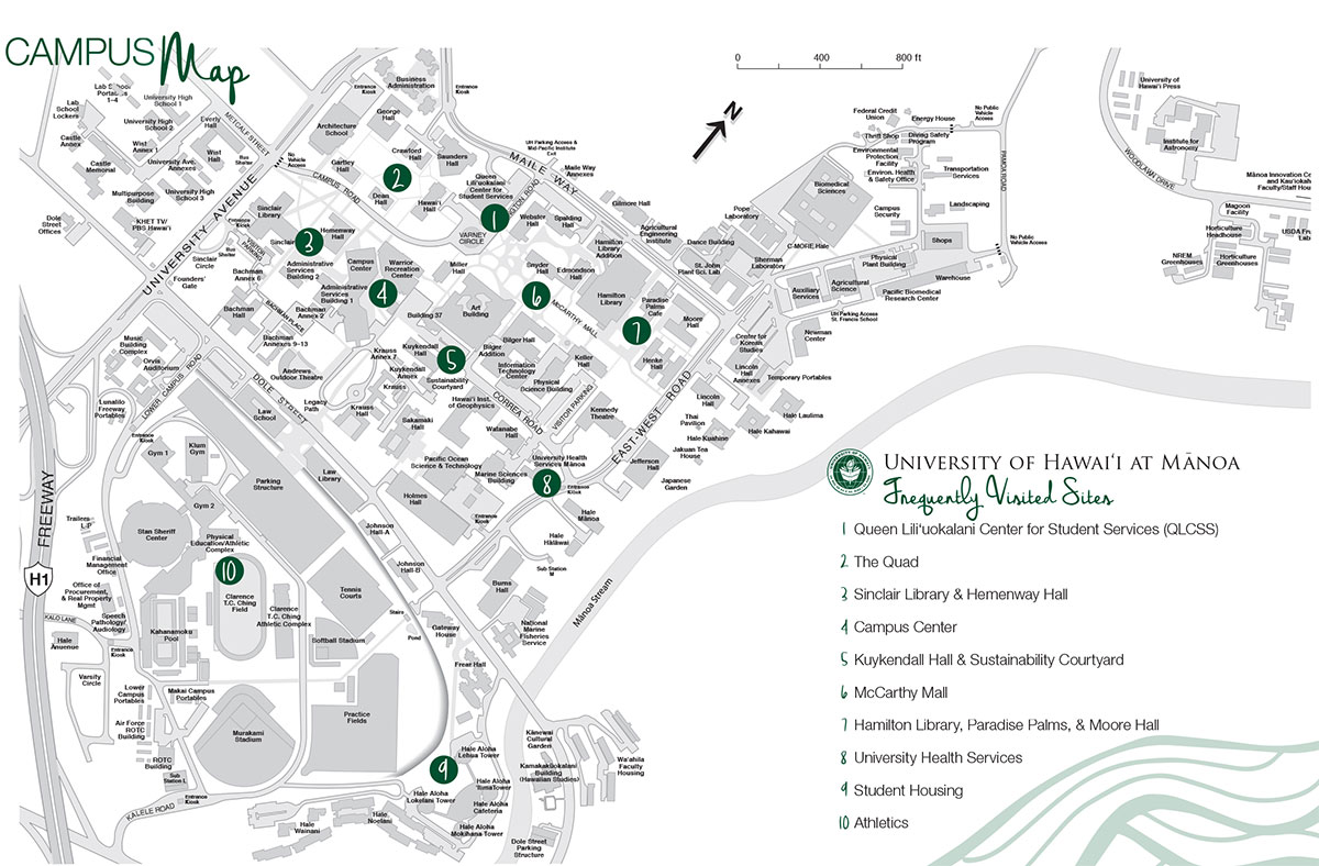 CAMPUS MAP  University Of Hawaii Visitor39s Guide