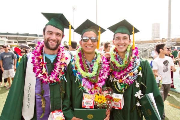 UHM graduates wearing leis