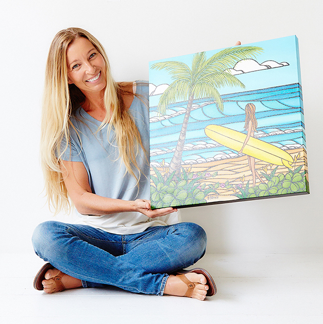 Heather Brown with surfer painting